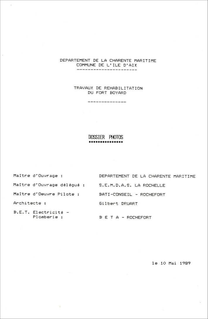 Etat des lieux du Fort en 1989 avant les travaux - Dossier SEMDAS - 1/6