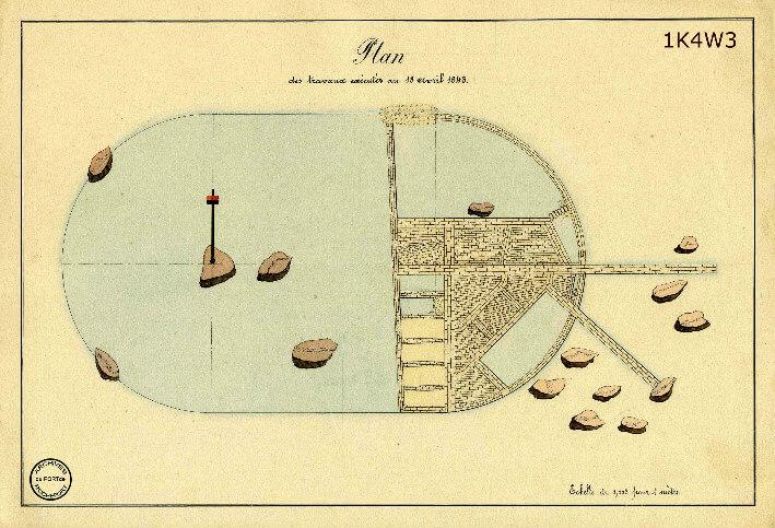 Le film de la construction - Planches de 1860. - 5.État des travaux au 18 avril 1843.