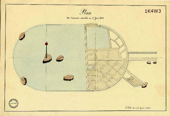 Le film de la construction - Planches de 1860. - 6.État des travaux au 17 juin 1843.