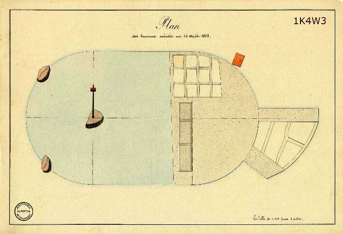 Le film de la construction - Planches de 1860. - 7.État des travaux au 14 août 1843.