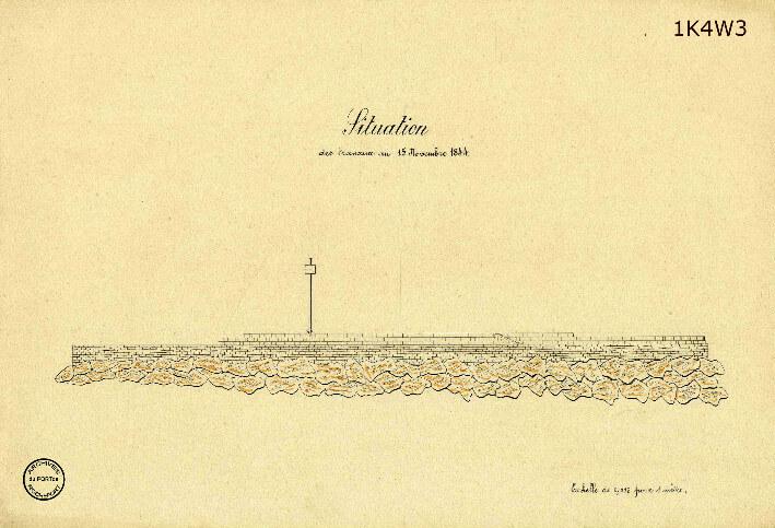 Le film de la construction - Planches de 1860. - 10.État des travaux au 15 novembre 1844. Élévation.