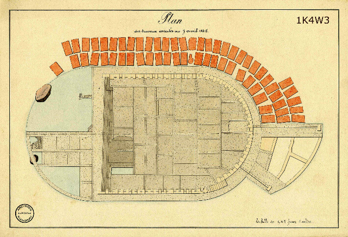 Le film de la construction - Planches de 1860. - 11.État des travaux au 7 avril 1845.