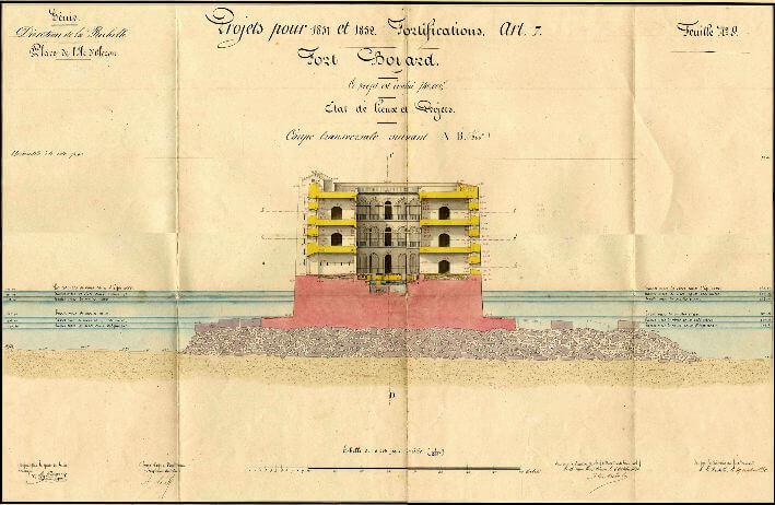 Fort Boyard, coupe transversale - 1851