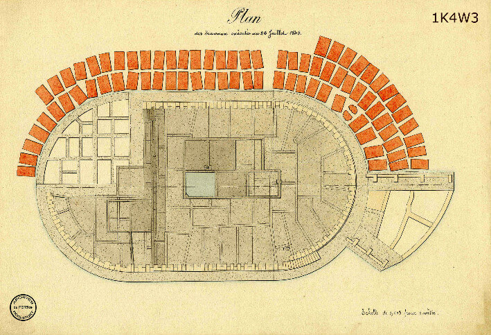 Le film de la construction - Planches de 1860. - 12.État des travaux au 26 juillet 1845