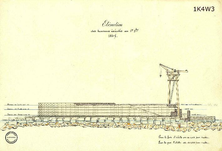 Le film de la construction - Planches de 1860. - 15.État des travaux au 1er novembre 1847. Élévation.