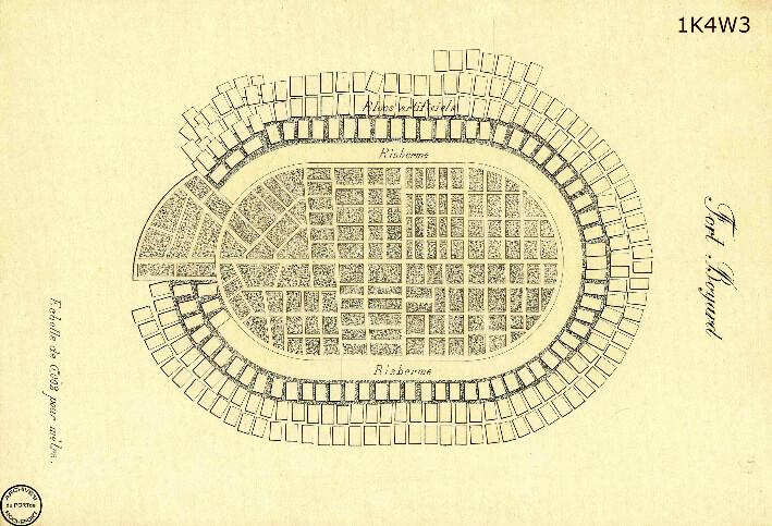 Le film de la construction - Planches de 1860. - 17.Ensemble de la base du fort achevée.
