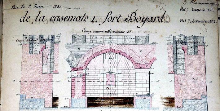 Le confort des casemates - Plan 1850 - 1852