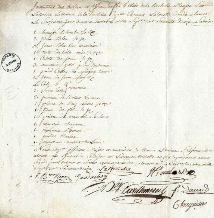 Inventaire des hardes d'Etienne Joseph Le Clerc, embarqué comme mousse sur le Nairac, le 16 octobre 1771, suite à son décès en mer, le 16 octobre 1772, à l'âge de quinze ans.
