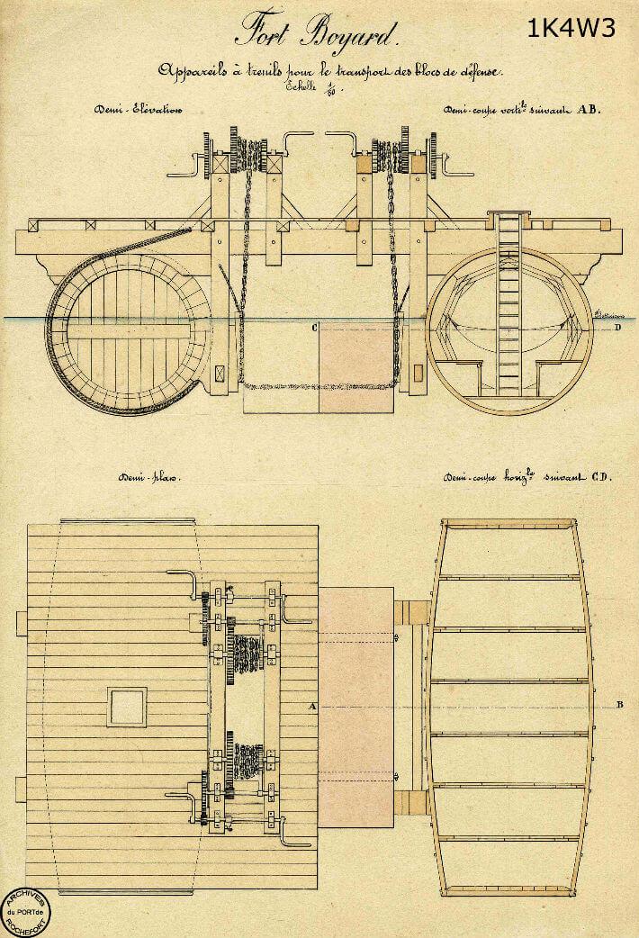 Appareil à treuils pour le transport des blocs - Gravure vers 1860