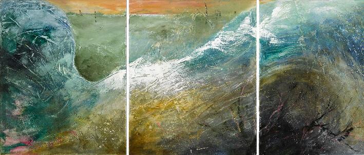 Véronique ADRIEN - La vague - Acrylique, 270 x 100 cm (triptyque)