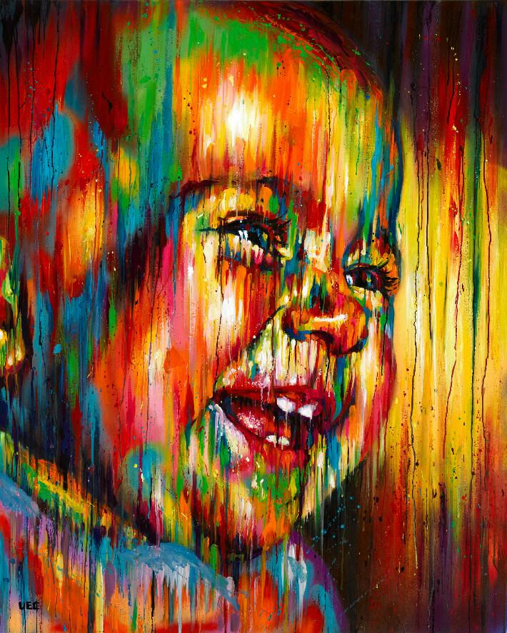 Sêma LAO - Meï-li - Acrylique et peinture aérosol sur toile de lin, 130 x 162 cm