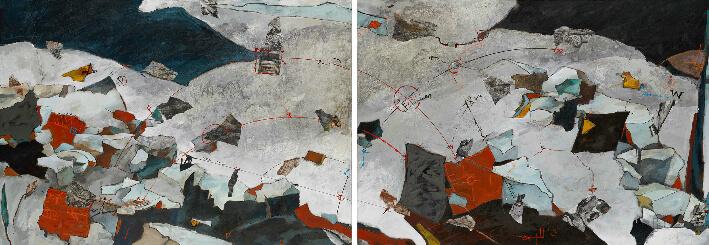 Philippe LAUWICK - On the overgrown path (sur un sentier broussailleux d'aprés Janàcek) - Acrylique, encres, papiers préparés en collagraphie, pastels, diptyque 400 x 140 cm