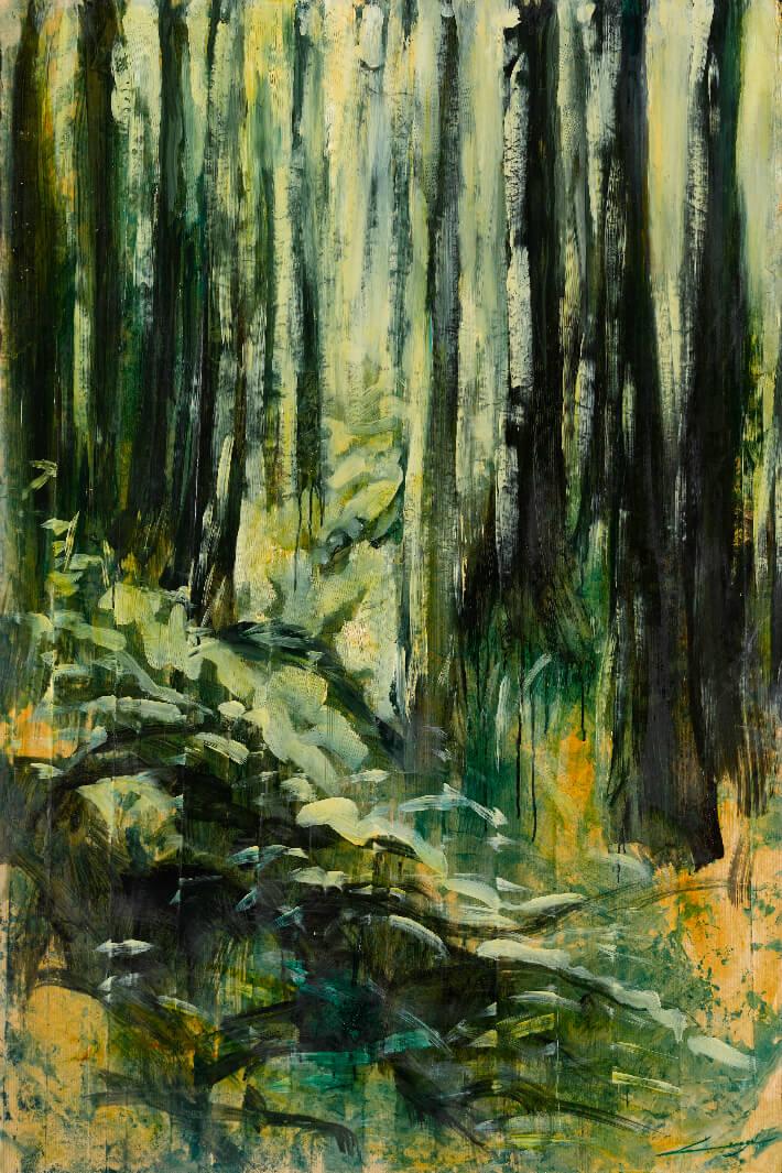 Nathalie LESAGE - Le rassemblement - Huile sur kraft marouflé sur toile, 89 x 146 cm