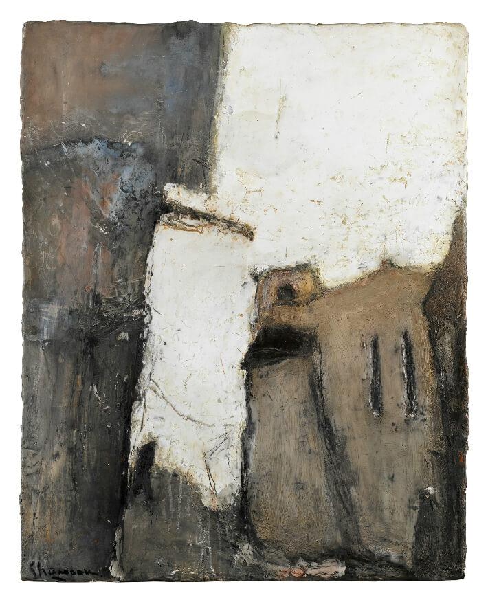 Daniel CHANEAU - L'Église de Saint-Romain-sur-Gironde - Acrylique et craie sur bois, 81 x 101 cm