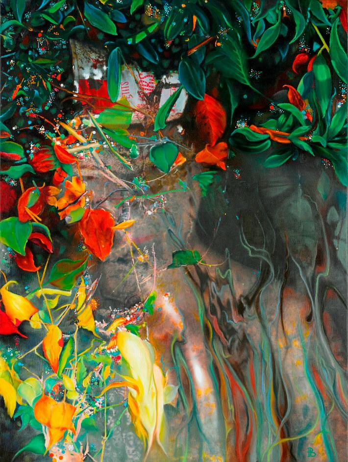 PÉBÉOL - Ophélie 1 - Photographie, acrylique, pastels à l'huile sur toile, 80 x 120 cm