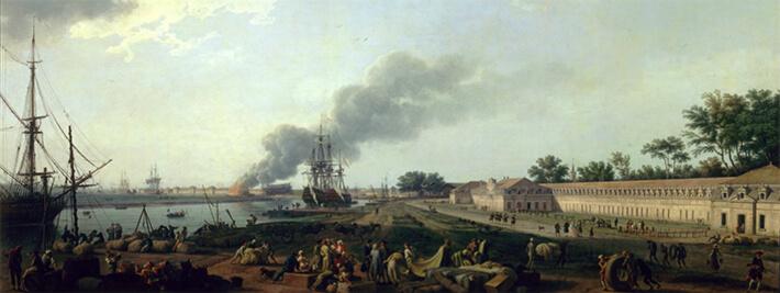 Vue du port de Rochefort en 1762