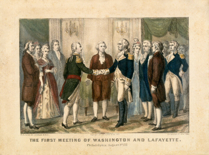 The first meeting of Washington and Lafayette, Philadelphia, August 3rd 1777