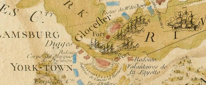Carte de la partie de la Virginie, plan de l'Attaque d'Yorktown