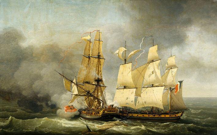 Combat entre la corvette française La Bayonnaise et la frégate anglaise L'Embuscade, le 14 décembre 1798