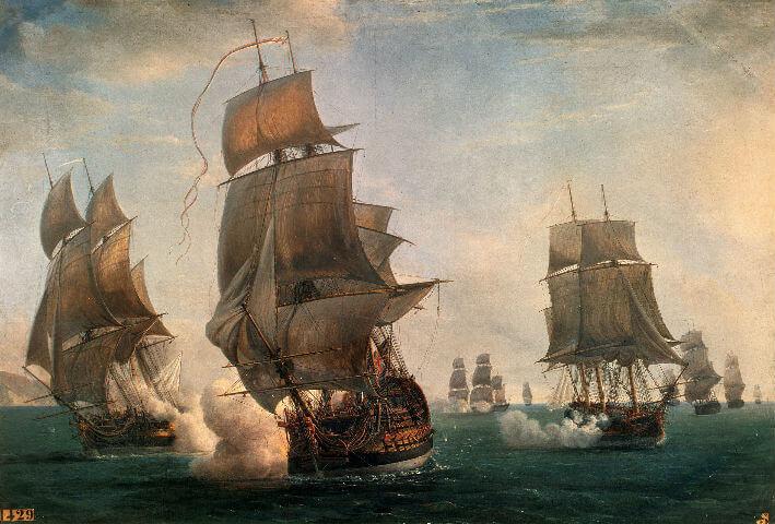 Combat des frégates françaises la Junon et la Gentille contre le vaisseau anglais l'Ardent, et la frégate anglaise Le Fox le 17 août 1779