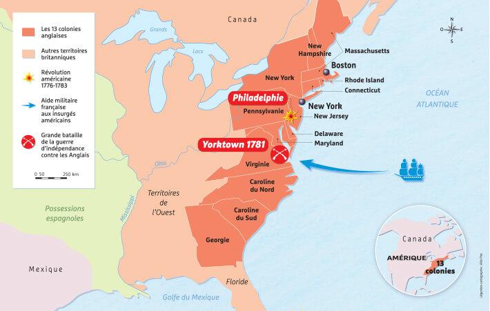 Carte des Treize Colonies d'Amérique