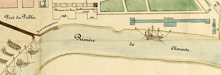 Plan géométrique de Rochefort sur Charente en 1672