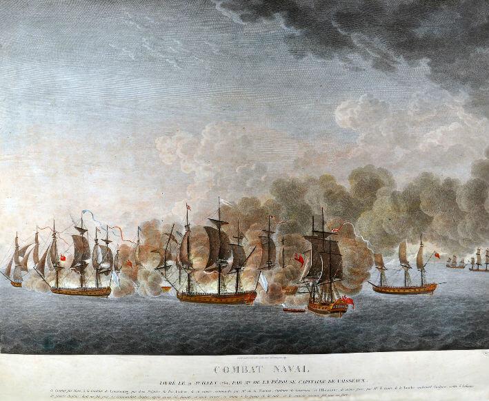 Combat naval livré le 21 juillet 1781, à la hauteur de Louisbourg par deux frégates du Roi, l'Astrée, commandée par Mr de la Pérouse, Capitaine de Vaisseaux, et l'Hermione, par Mr le Comte de la Touche également Capitaine.