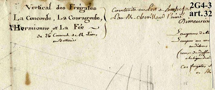 Vertical des frégates La Concorde, La Courageuse, l'Hermione et la Fée, 1779