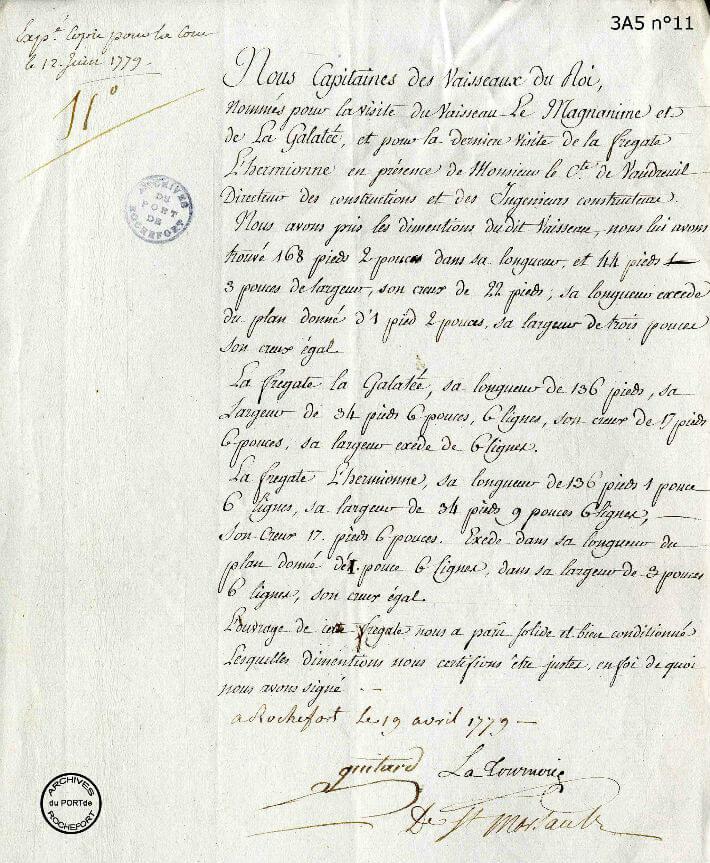Rapport d'inspection du 19 avril 1779 par le comte de Vaudreuil à l'achèvement de la coque
