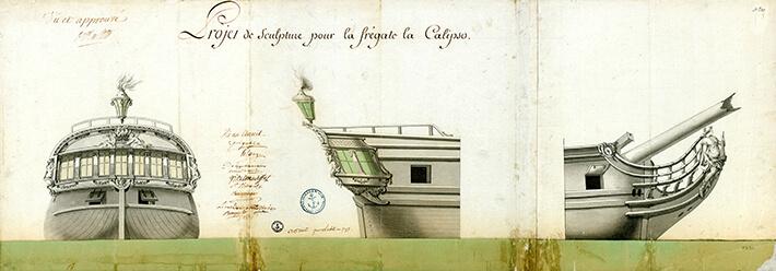 Projet de sculpture pour la frégate La Calipso, 1789