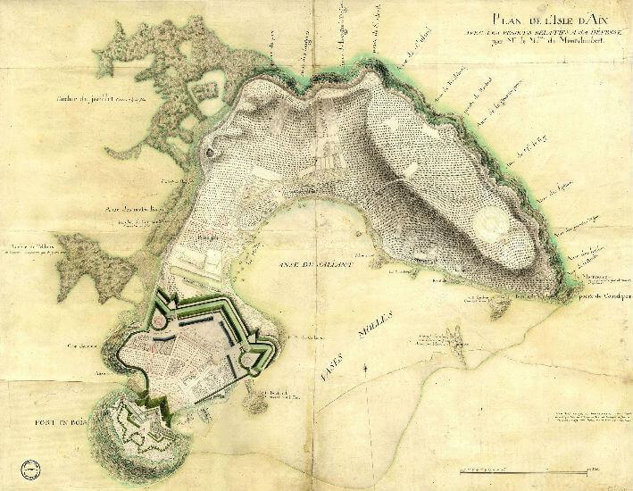 Plan de l'Isle d'Aix avec les projets relatifs à sa défense,  par Marc René Marquis de Montalembert, 1779