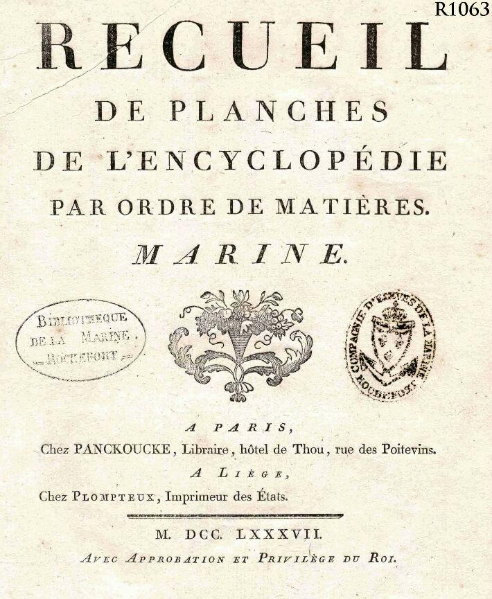Encyclopédie méthodique marine : page titre -
