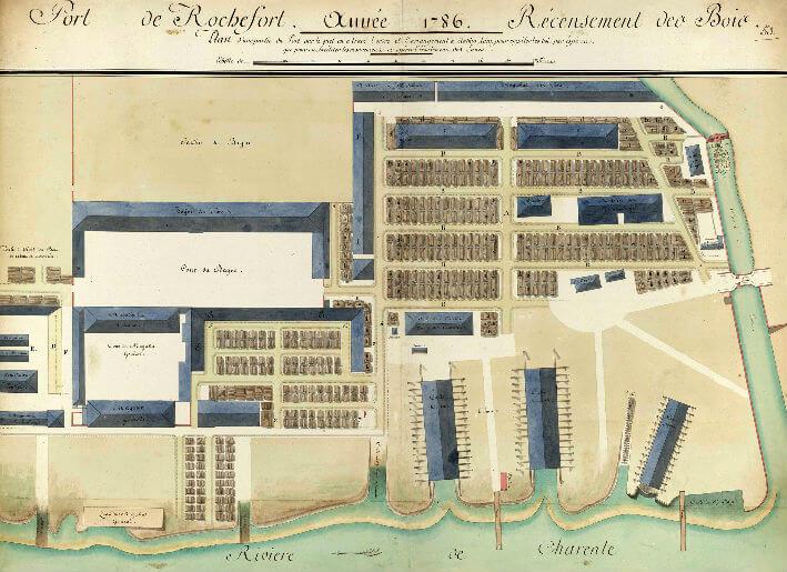 Port de Rochefort, année 1786, recensement des bois.