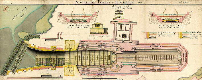 Nouvelles formes de Rochefort, 1717 - Plan détaillé de la double forme de radoub -