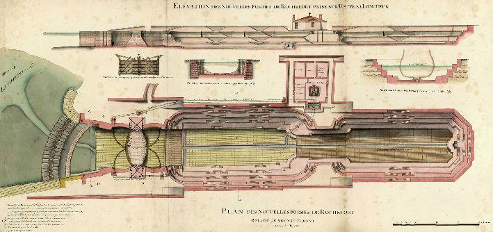 Elévation des nouvelles formes de Rochefort prise sur toute sa longueur - Sans signature. Ech Coul - Rochefort , 20 mars 1724