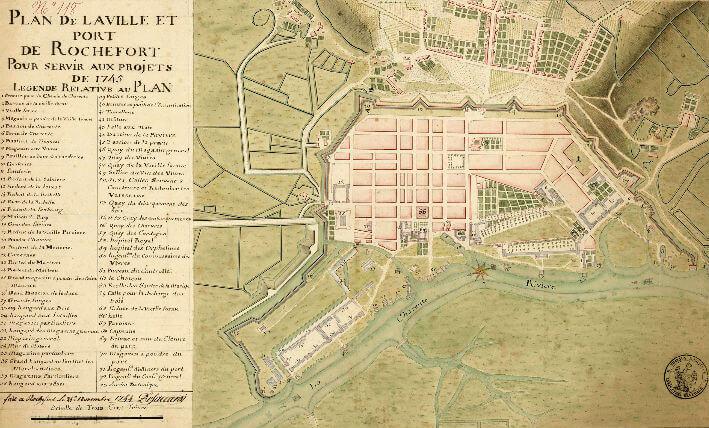 Rochefort : plan de la ville et du port - 1745
