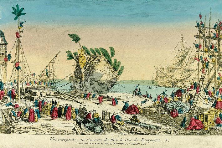 Vue perspective du vaisseau du Roy, Le Duc de Bourgogne, N° 173, lancé dans le port de Rochefort, le 20 octobre 1751