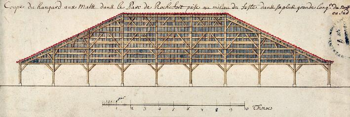 Coupe d'un hangar aux mâts. Dessin, plume, aquarelle. Milieu du XVIIIe siècle