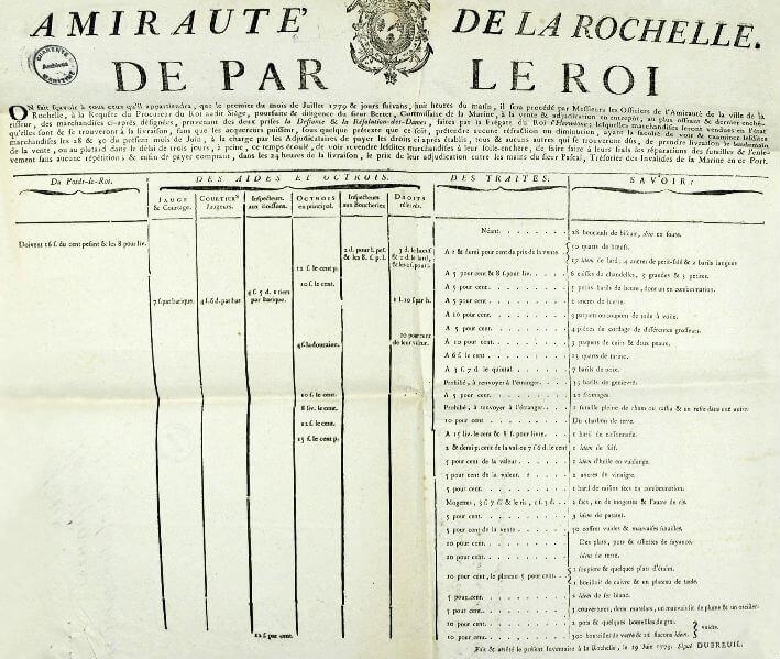 Affiche de l'Amirauté de la Rochelle : tableau des marchandises qui seront vendues en entrepôt les premiers jours de juillet 1779