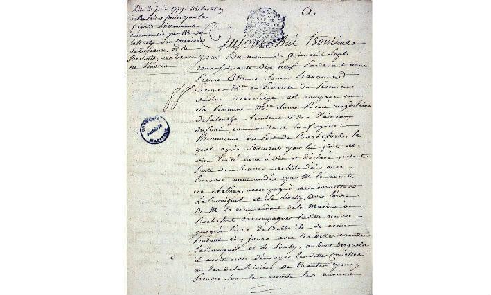 Déclaration du 3 juin 1779 de prises par l'Hermione - Page 1