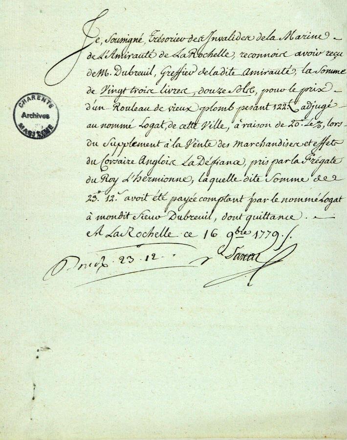 Papier de la vente des marchandises du navire corsaire anglais la Défiance pris par  l 'Hermione, juillet 1779