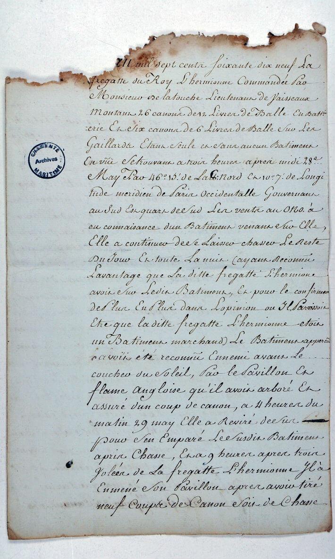 PV du 29 mai 1779 fait à bord du vaisseau La Défiance pris par l'Hermione signé par Latouche - page 1