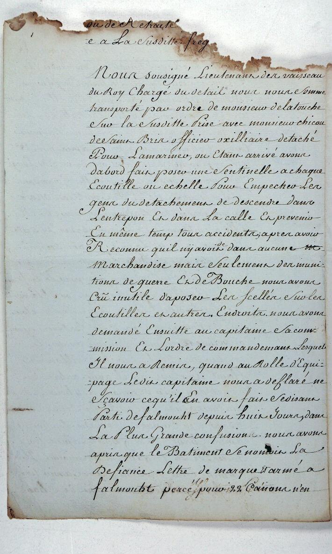 PV du 29 mai 1779 fait à bord du vaisseau La Défiance pris par l'Hermione signé par Latouche - Page 2