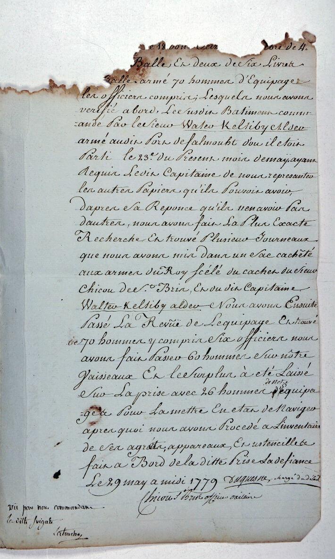 PV du 29 mai 1779 fait à bord du vaisseau La Défiance pris par l'Hermione signé par Latouche - Page 3