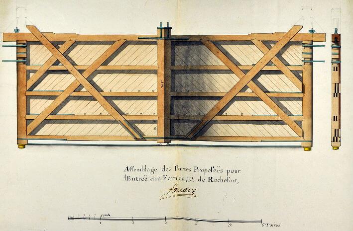 Assemblage des portes proposées pour l'entrée des formes 1-2 de Rochefort