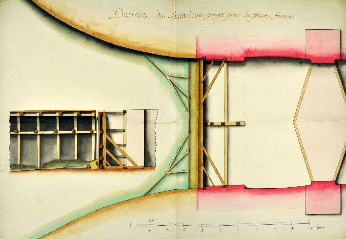Plan du batardeau à faire aux nouvelles formes de Rochefort
