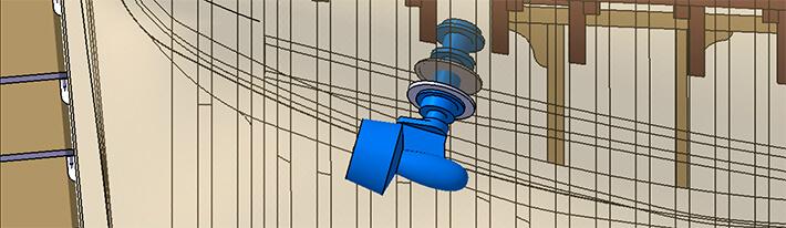 Vue de côté de l'implémentation des propulseurs azimutaux Masson - Coque transparente - 15/06/2010