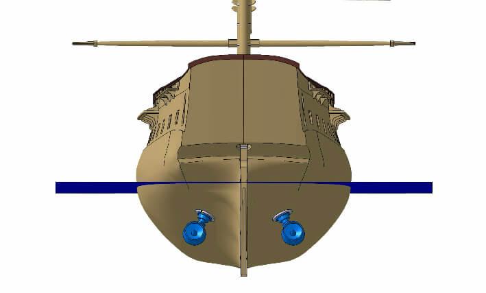 Vue arrière de l'implémentation des propulseurs azimutaux Masson – 15/06/2010