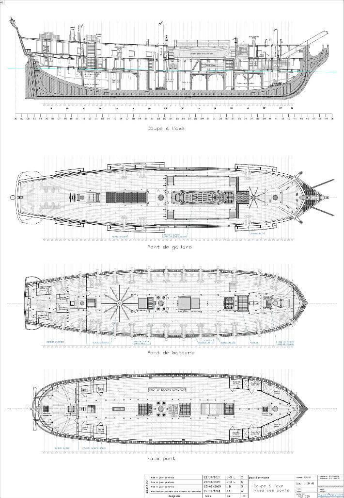 Coupe à l'axe, vues des ponts - Yacht Concept