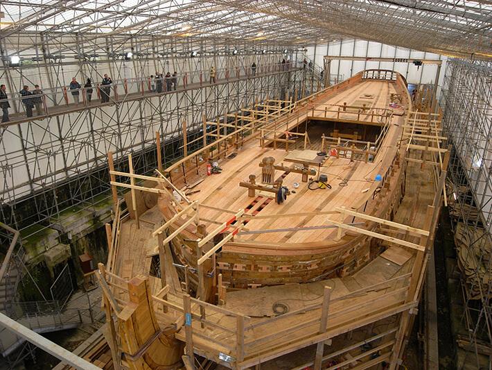 Visite du chantier de L'Hermione, le 28/04/2008